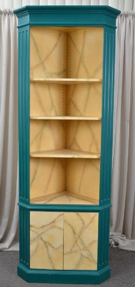 Green Corner Cabinet w/Marbling Accents