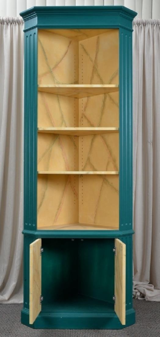 Green Corner Cabinet w/Marbling Accents - 3