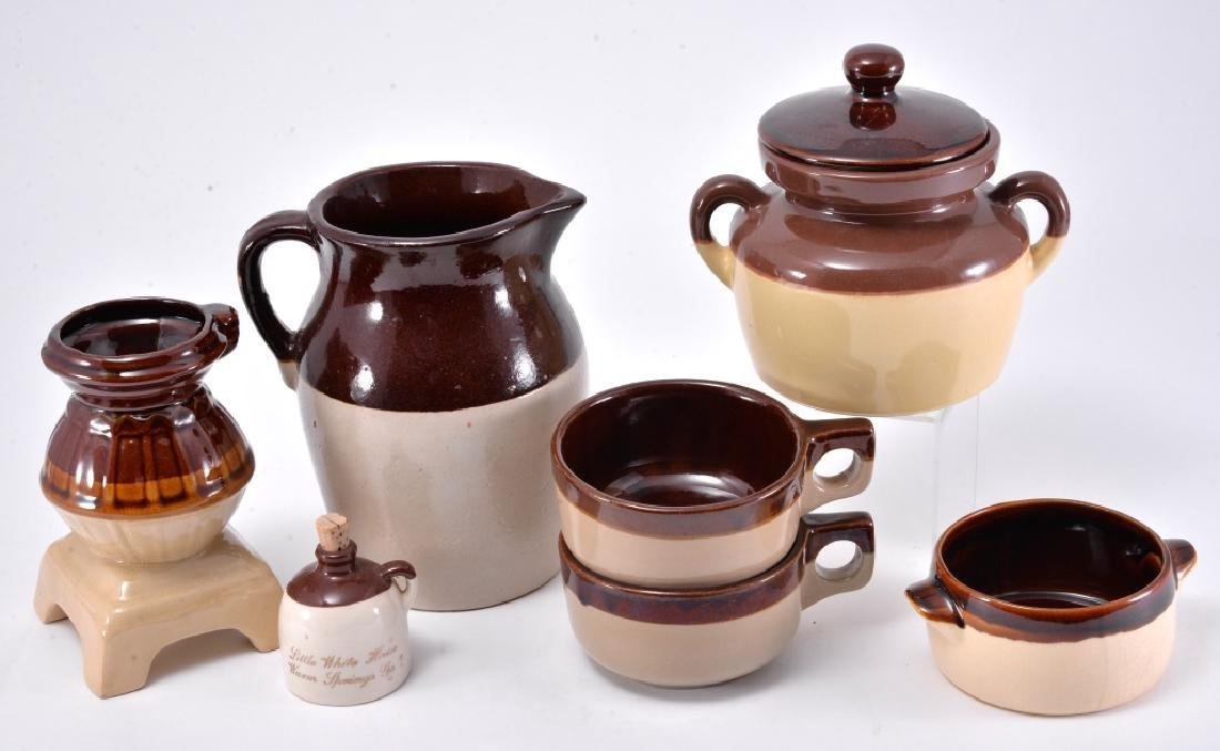 Brown & White Pitcher, Bean Pot & More