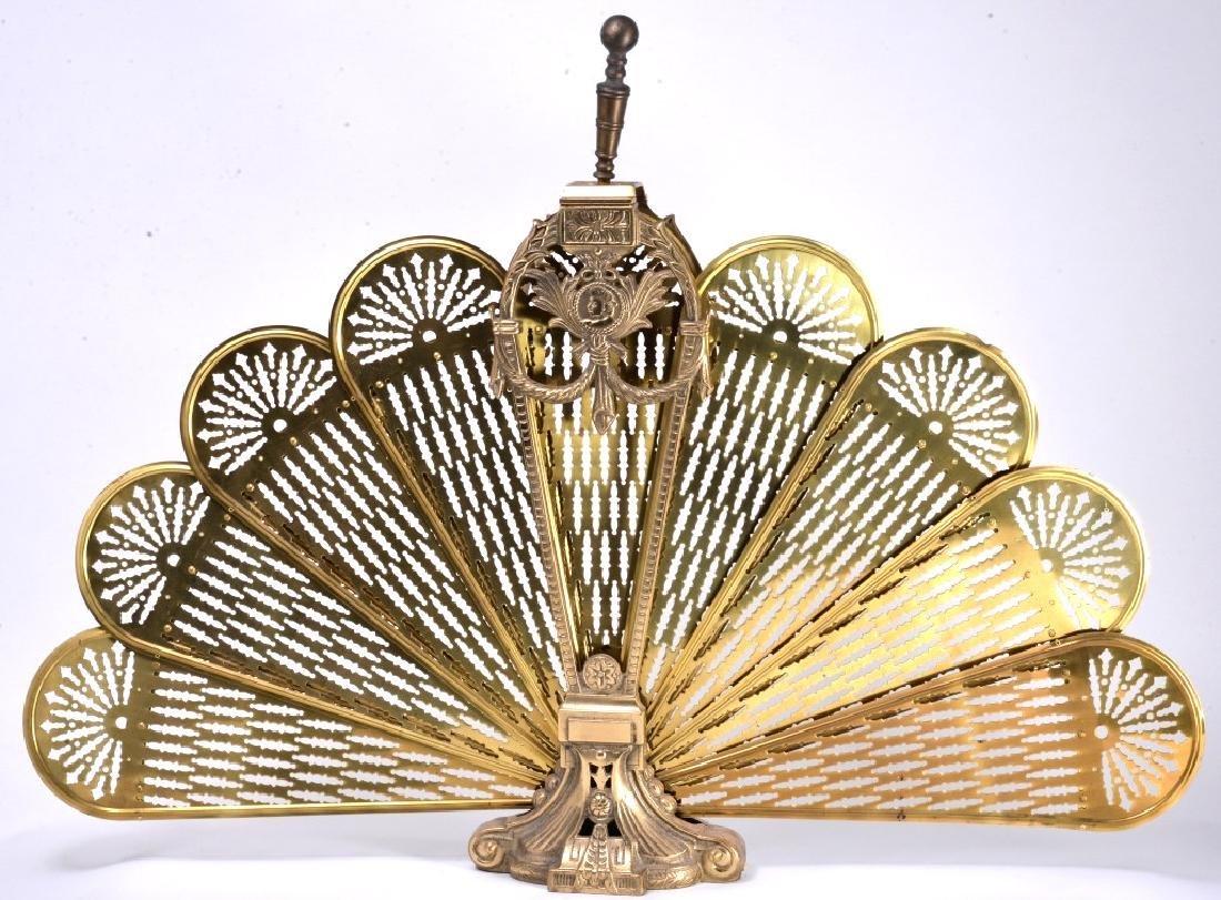Brass Peacock Fan Fireplace Screen