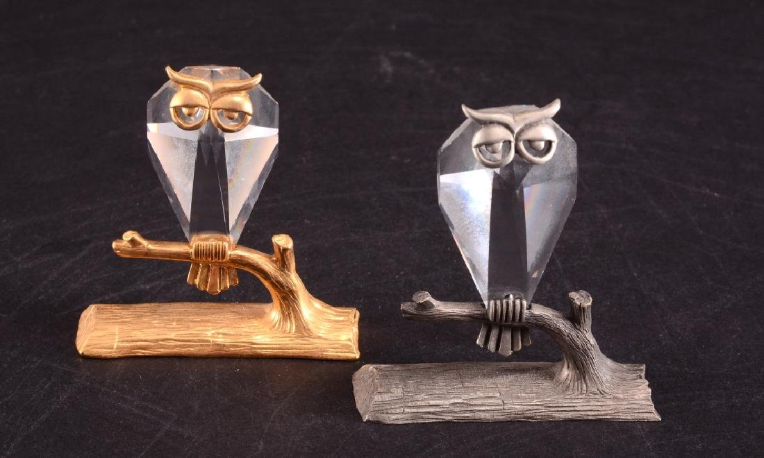 Two Crystal Owl on Branch Figurines