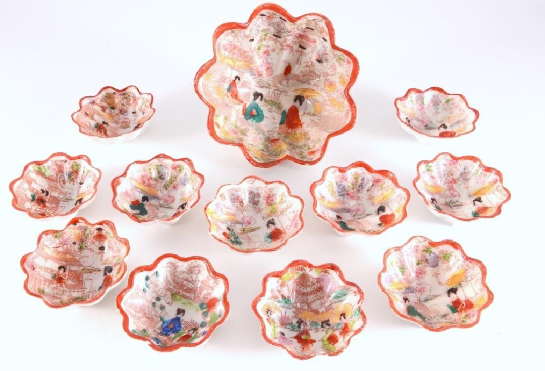 12 Red Rim Geisha Girl Japanese Footed Bowls