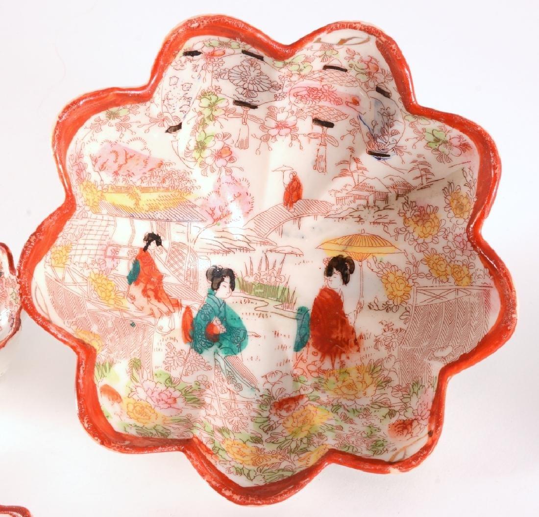 12 Red Rim Geisha Girl Japanese Footed Bowls - 2
