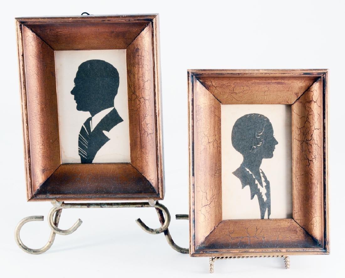Framed Man & Woman Cut Paper Silhouettes