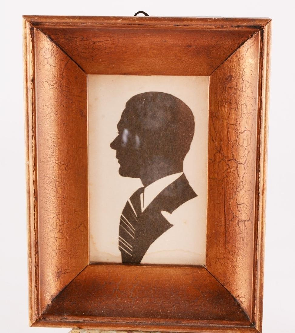 Framed Man & Woman Cut Paper Silhouettes - 2
