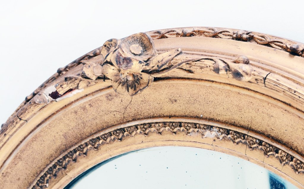 Vintage Gold Oval Mirror - 3