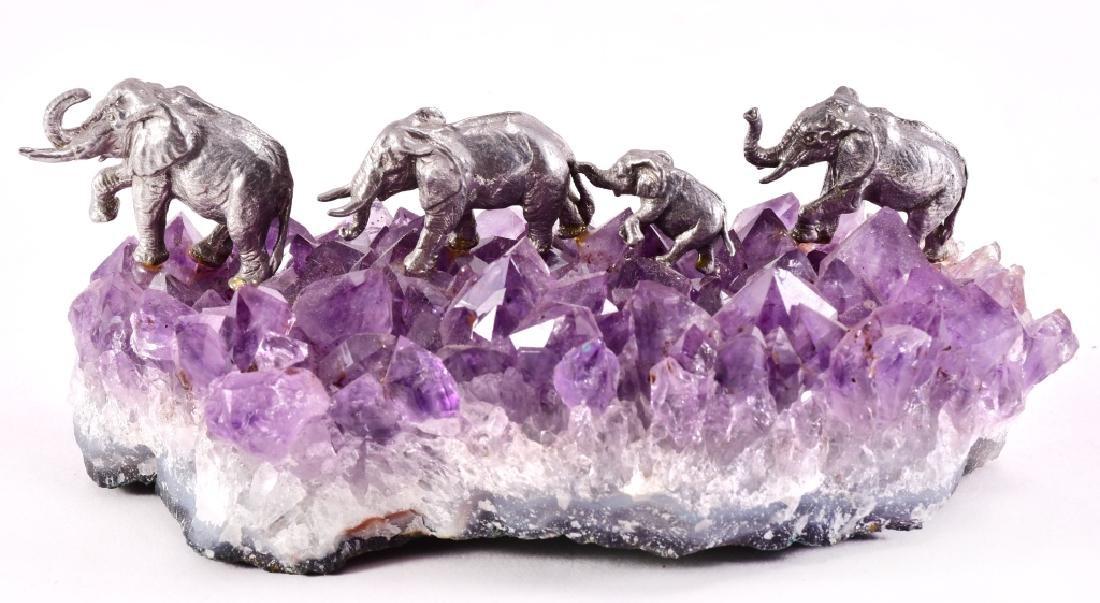 Elephant Figurines on Amethyst Geode Crystal