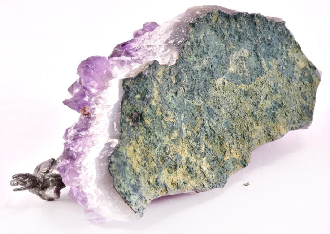 Elephant Figurines on Amethyst Geode Crystal - 3