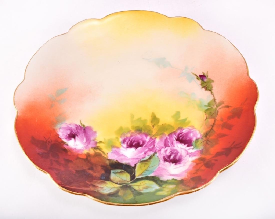 Hand Painted Pickard Limoges Pink Roses Plate - 2