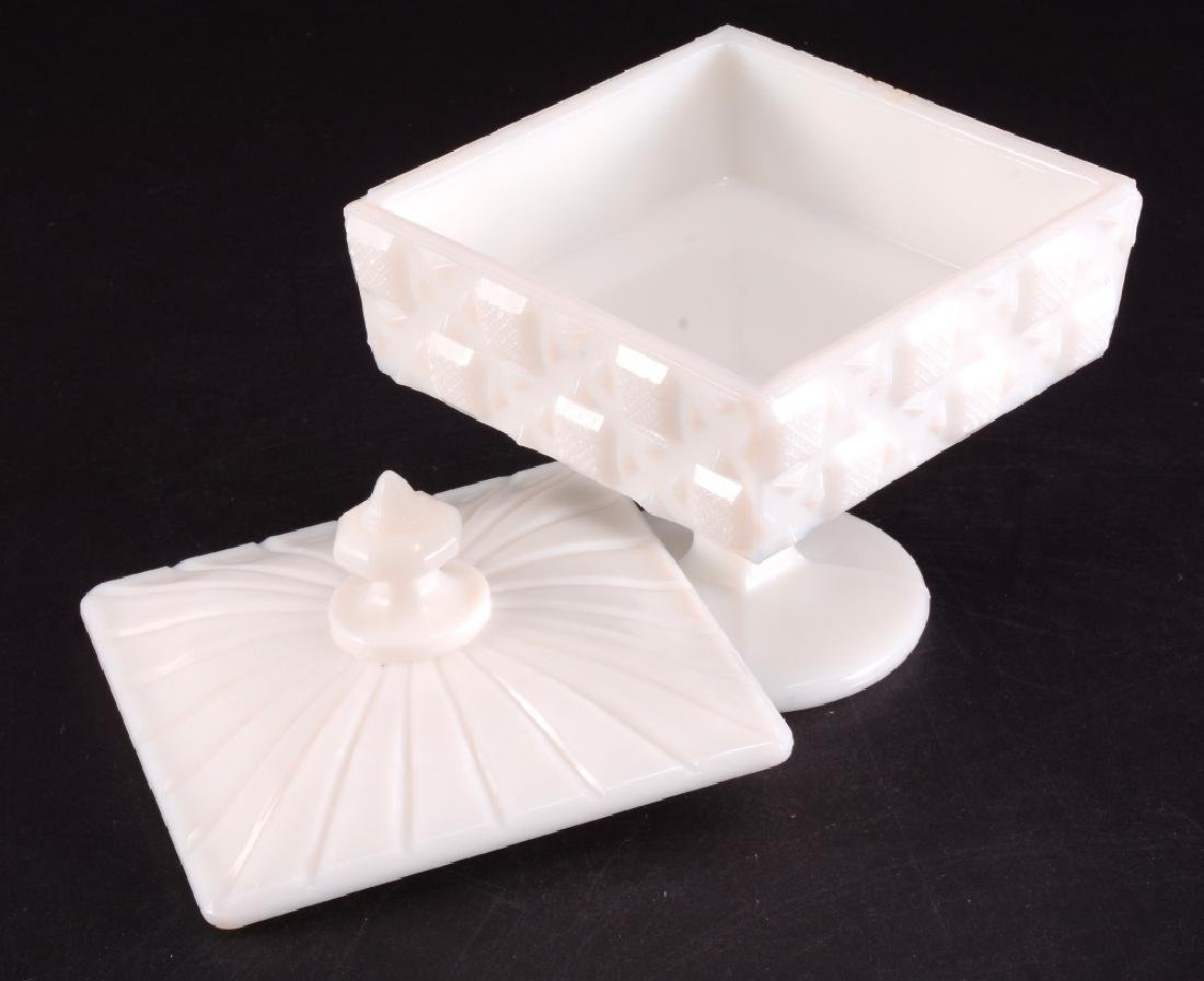 Old Quilt Milk Glass Footed Candy Dish w/Lid - 2