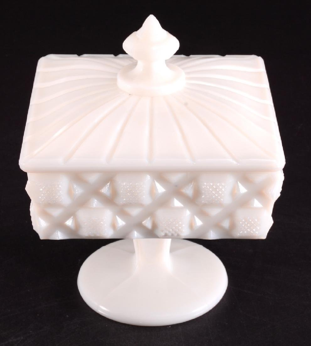 Old Quilt Milk Glass Footed Candy Dish w/Lid - 3