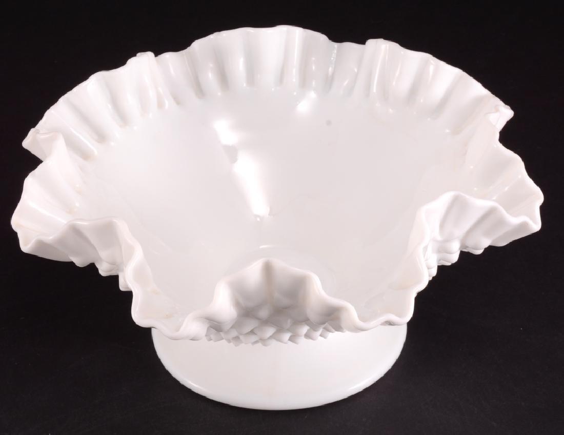 Hobnail Milk Glass Ruffled Edge Footed Bowl - 2