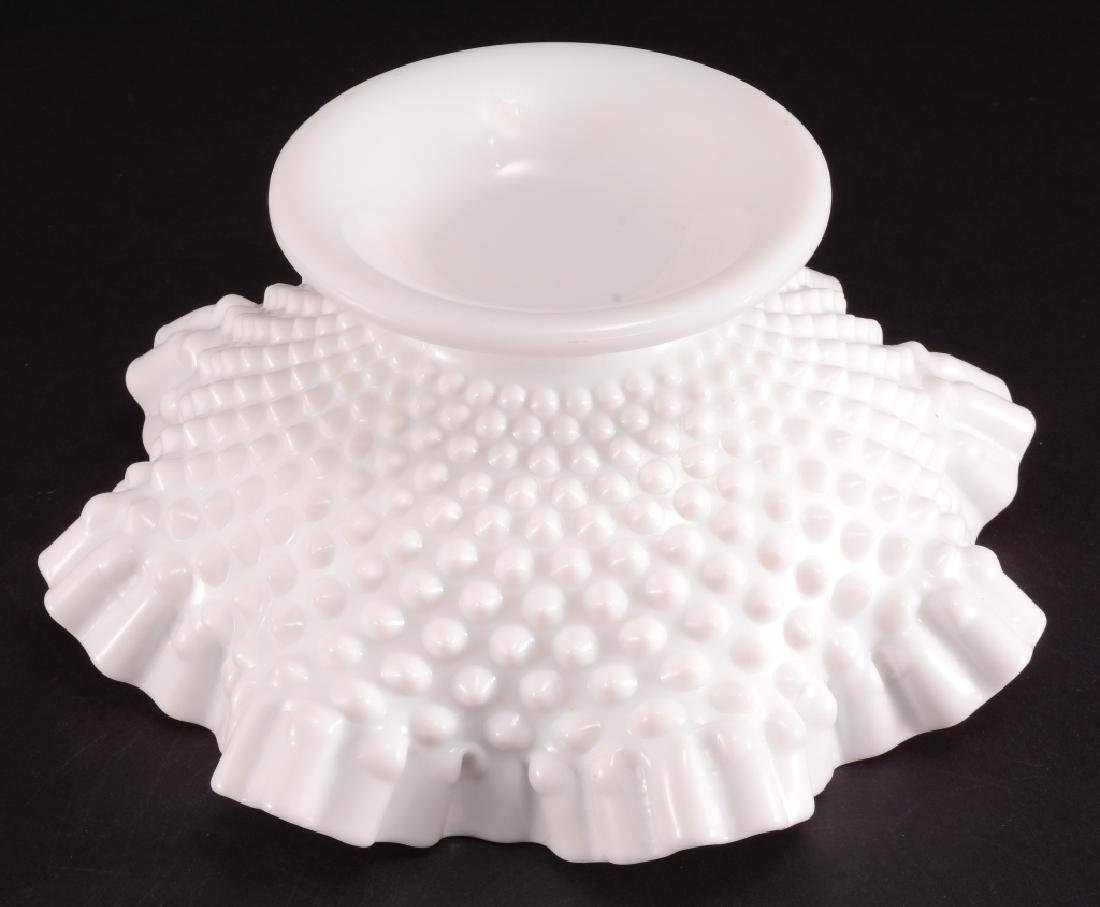 Hobnail Milk Glass Ruffled Edge Footed Bowl - 3