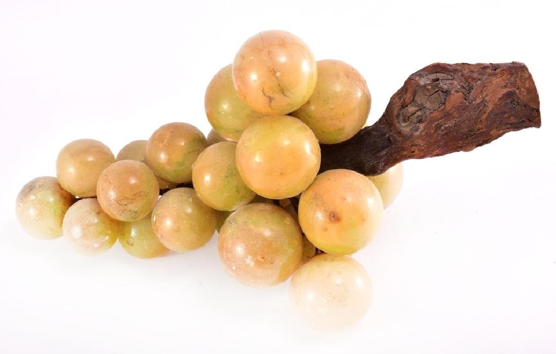 Alabaster Marble Stone Grapes On Wood Stem