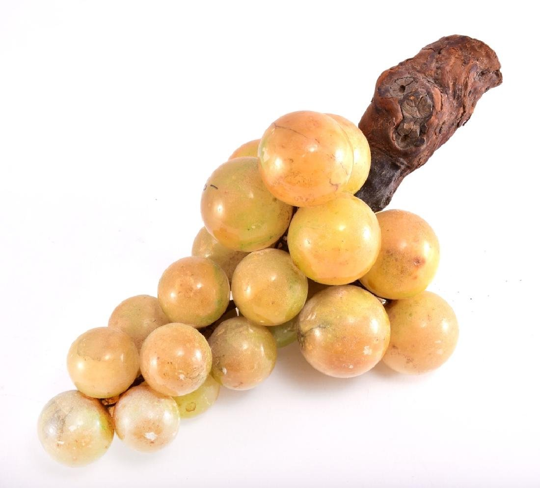 Alabaster Marble Stone Grapes On Wood Stem - 2