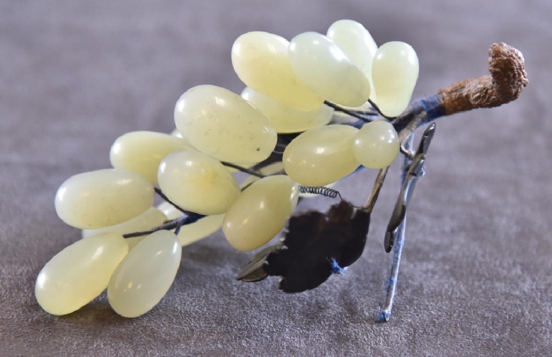 Jadeite Jade Grape Cluster & Carved Leaves - 2