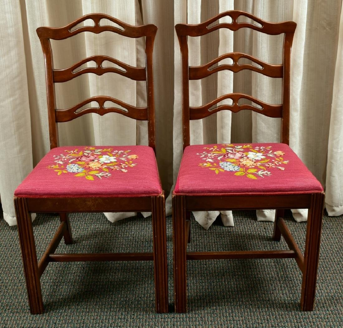 Pair of Vintage Needle Point Side Chairs