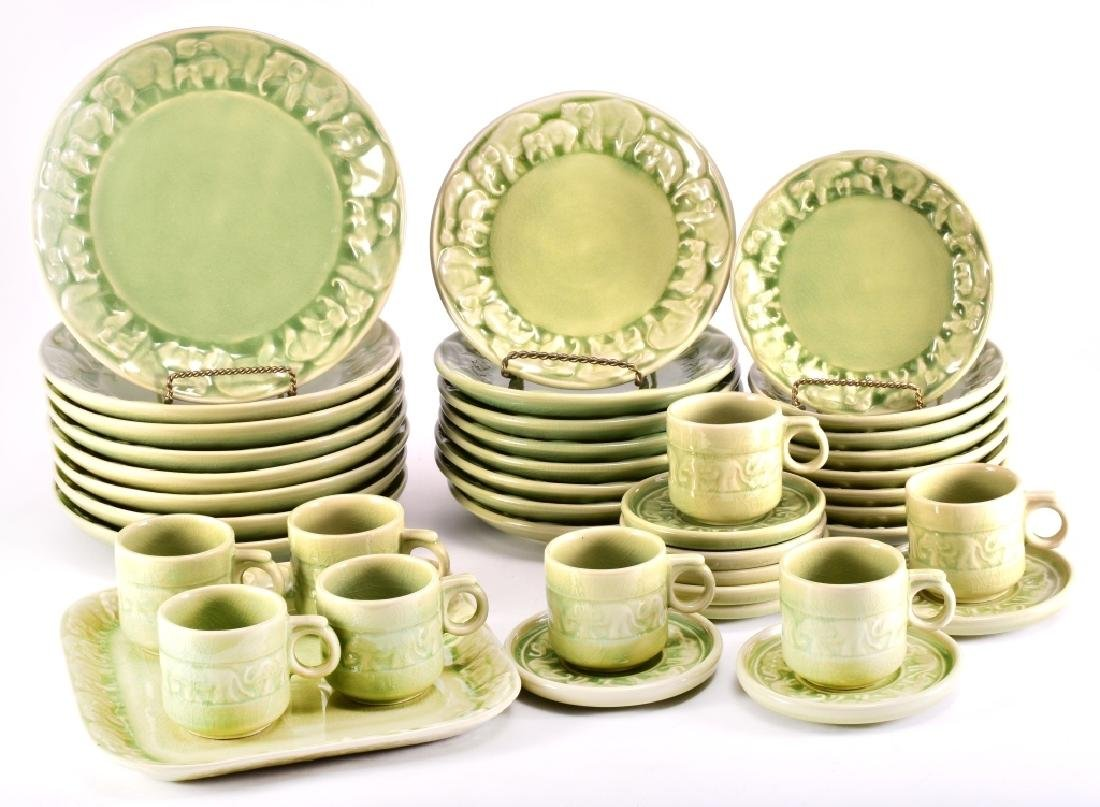 41 Pcs. Thai Celadon Elephant Herd Tableware Set