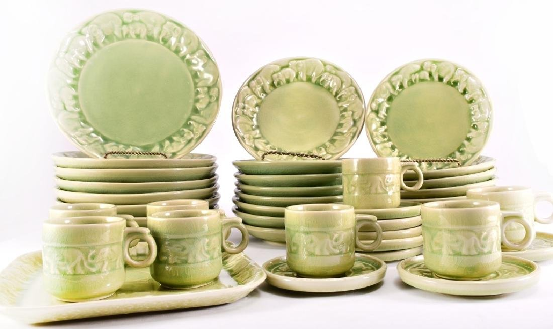 41 Pcs. Thai Celadon Elephant Herd Tableware Set - 4