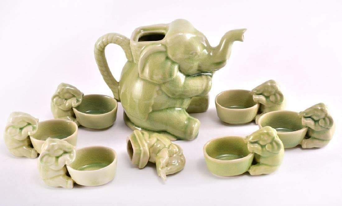 Thai Celadon Elephants Tea Set