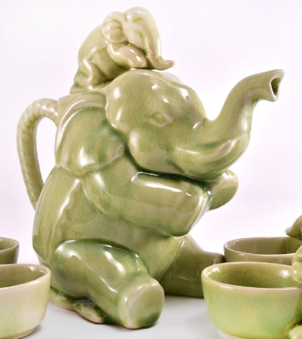 Thai Celadon Elephants Tea Set - 2