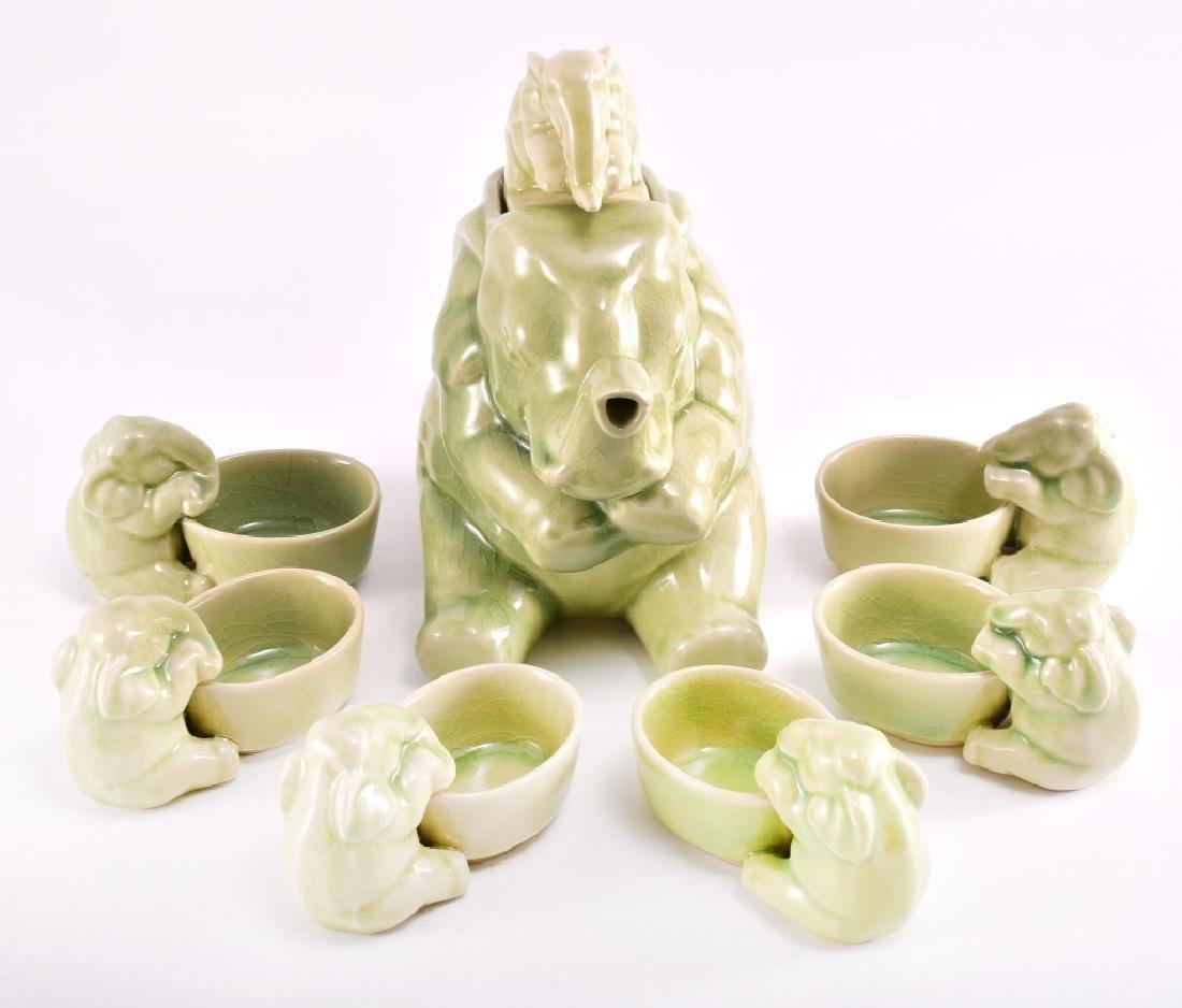 Thai Celadon Elephants Tea Set - 4