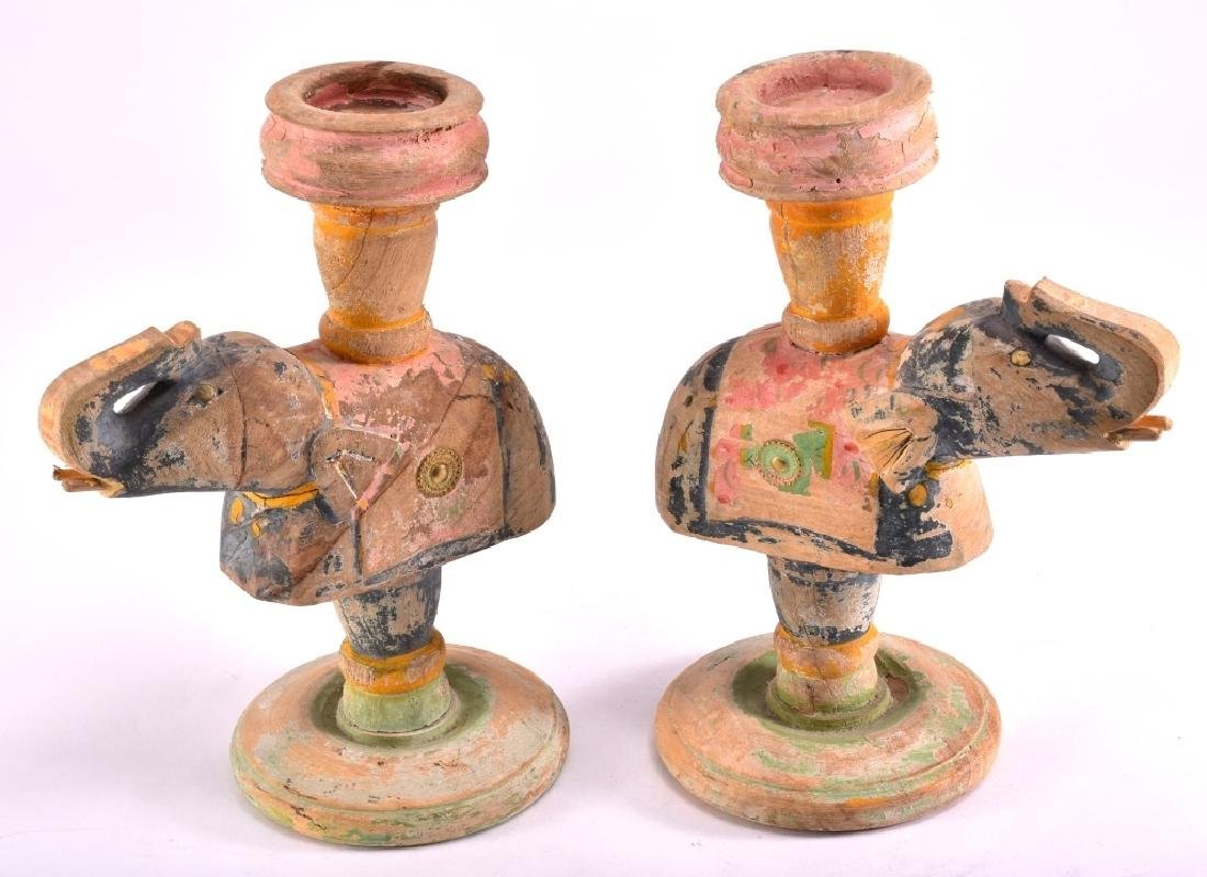 Pair of Distressed Wood Elephant Candle Holders
