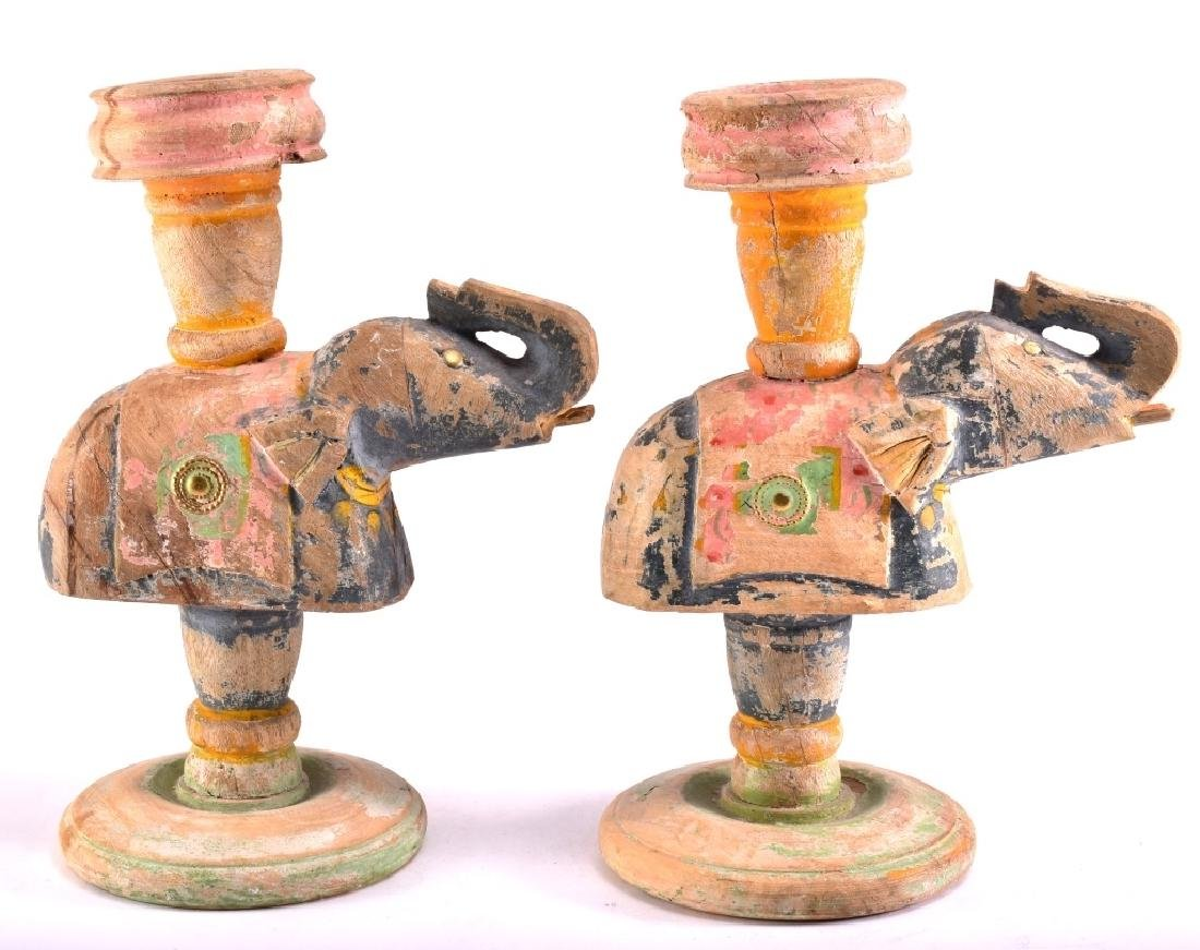 Pair of Distressed Wood Elephant Candle Holders - 3