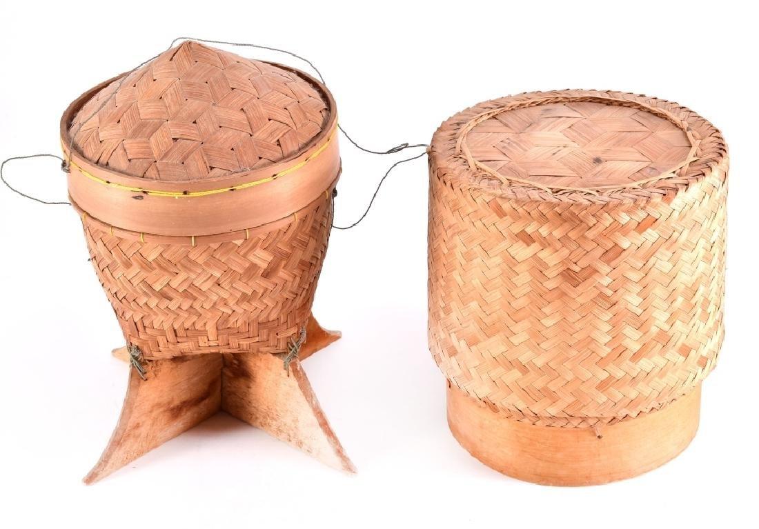 2 Thai Lao Kratip Sticky Rice Bamboo Baskets