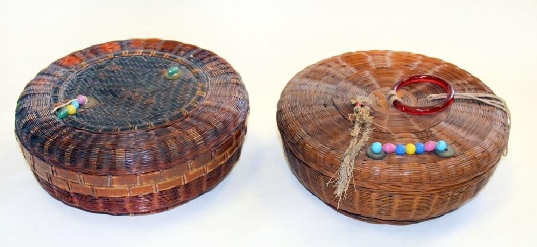 2 Vintage Chinese Sewing Baskets