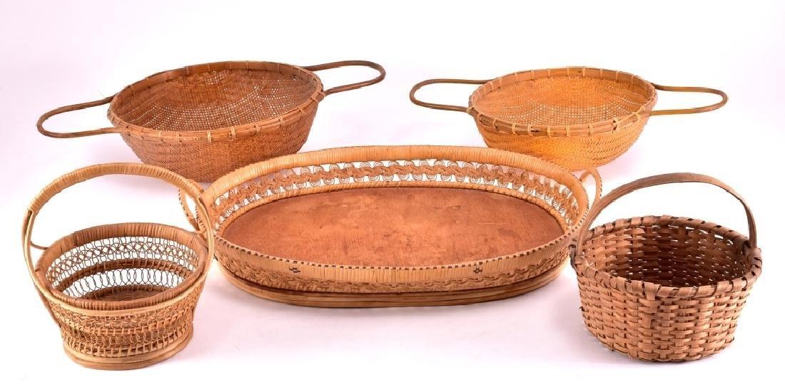 4 Wicker Baskets & Tray