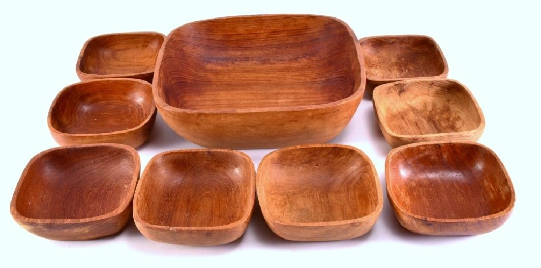 Square Wood Salad Bowl Set