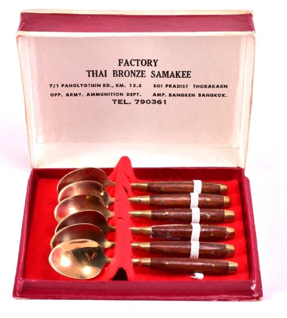 6 Thai Bronze Demitasse Spoons