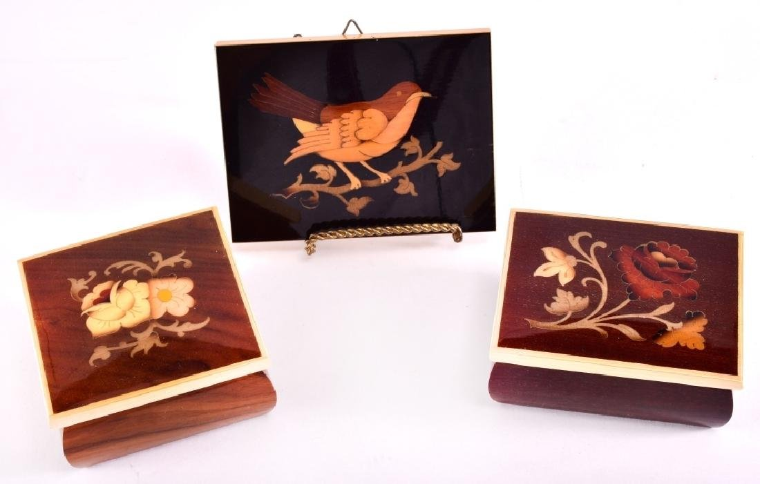 Marquetry Bird and Trinket Boxes