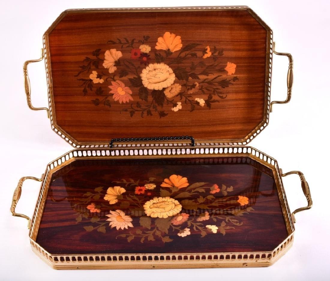 2 Marquetry & Brass Trays - 2
