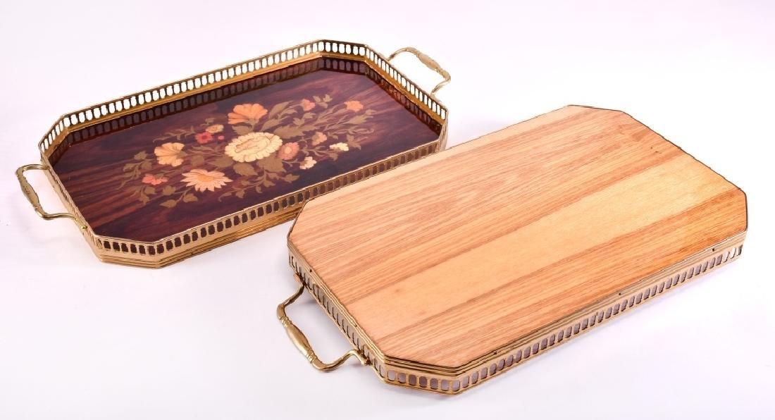 2 Marquetry & Brass Trays - 3