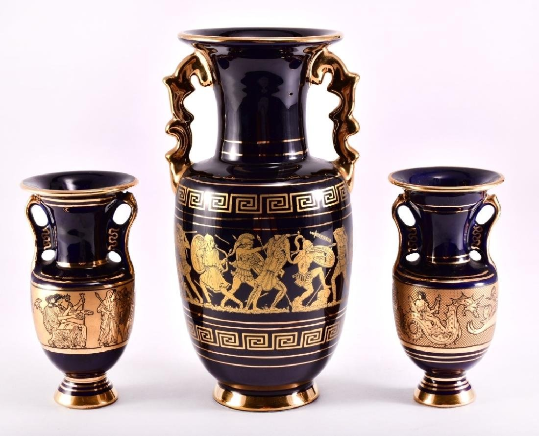 3 Greek Cobalt & 24K Gold Ceramic Vases