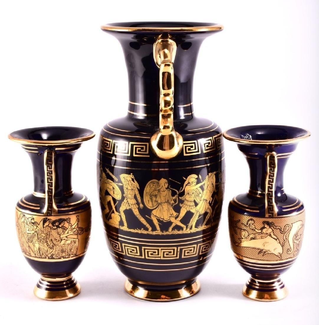3 Greek Cobalt & 24K Gold Ceramic Vases - 2