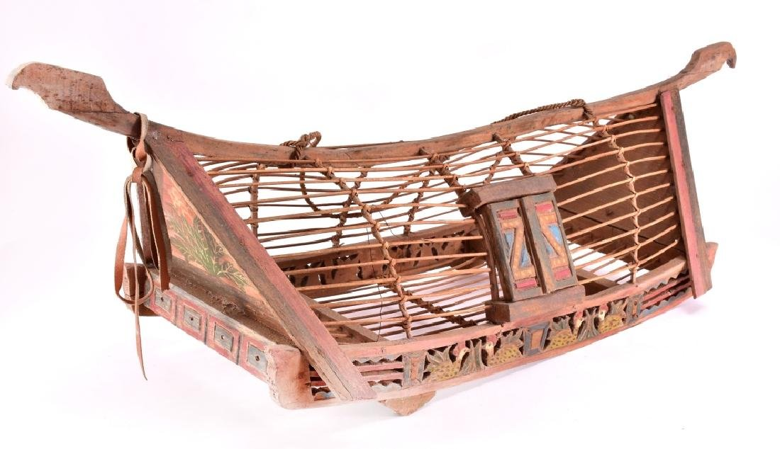 Vintage Asian Wood Boat Shaped Chicken Cage