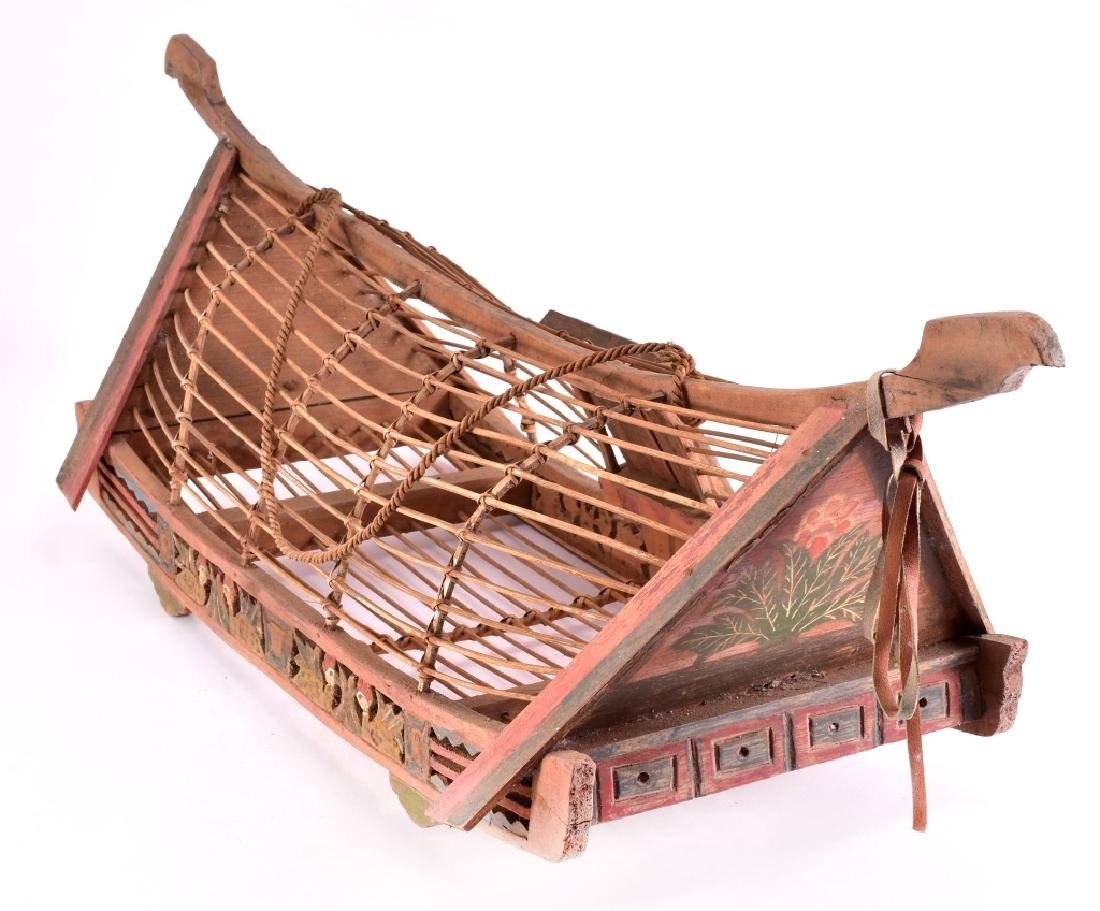 Vintage Asian Wood Boat Shaped Chicken Cage - 2