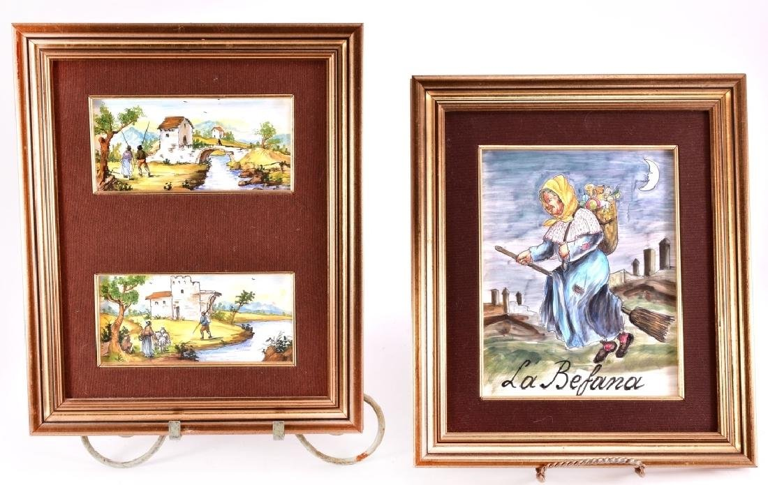 3 Framed Hand Painted Tiles
