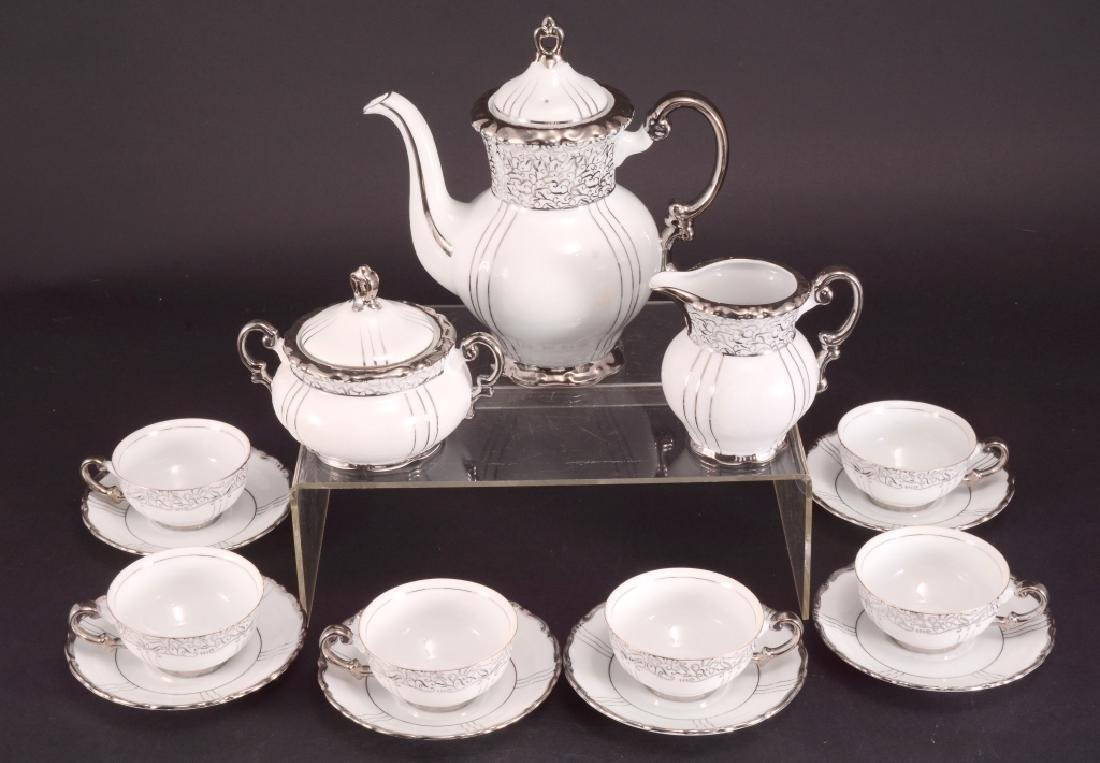 "Seyei China ""Renaissance"" Platinum Handle Tea Set"