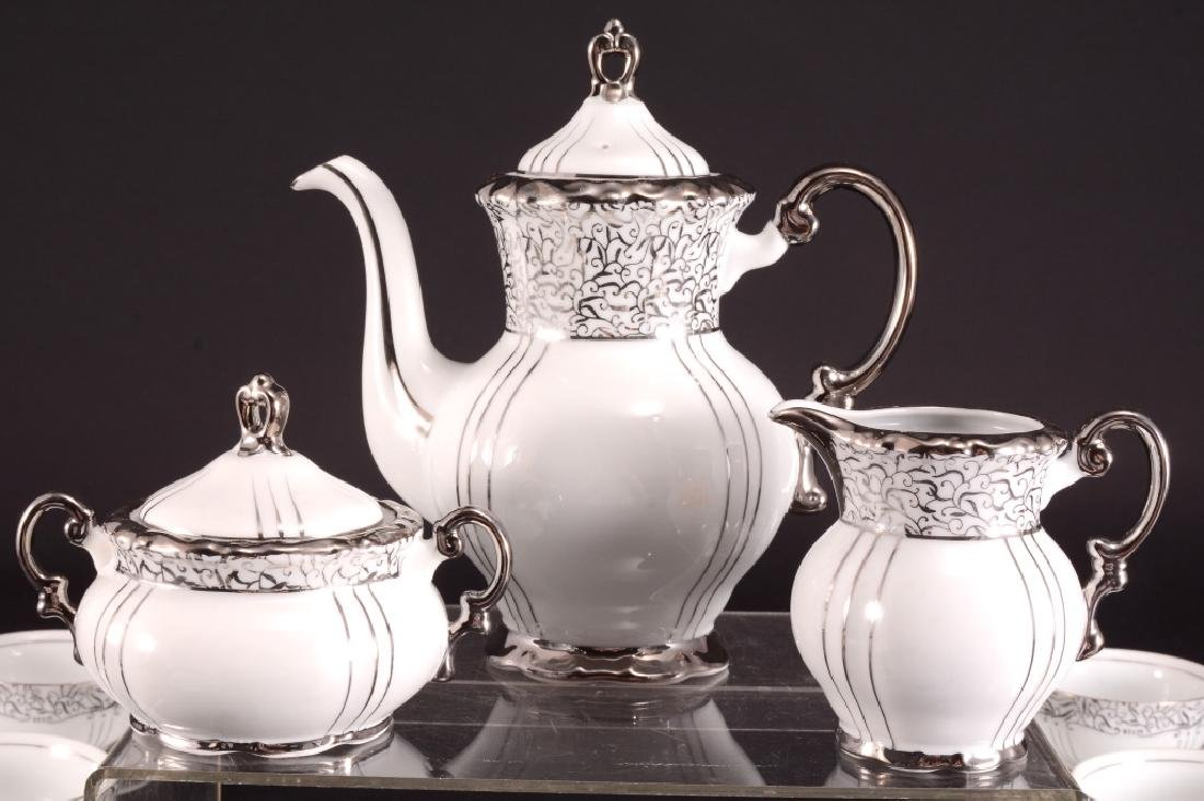 "Seyei China ""Renaissance"" Platinum Handle Tea Set - 4"