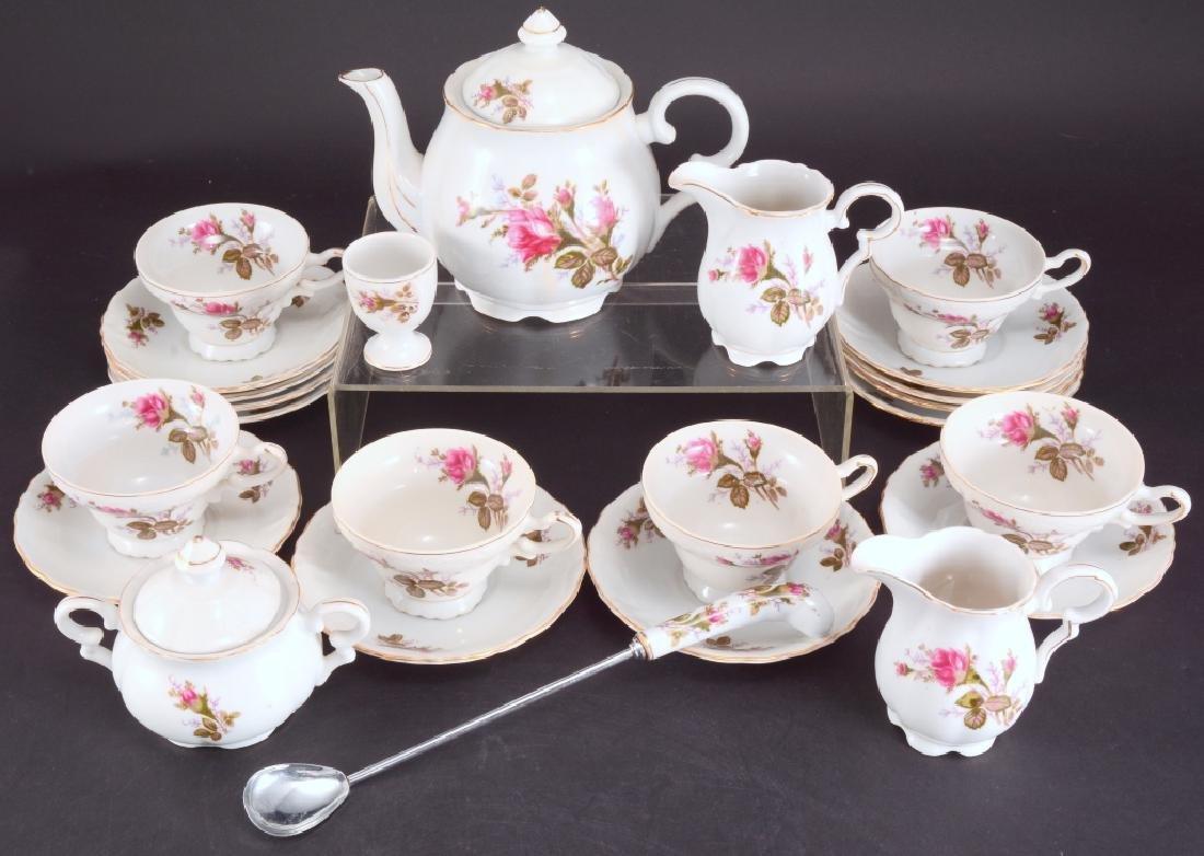 21 Pcs. Moss Rose China Tea Set