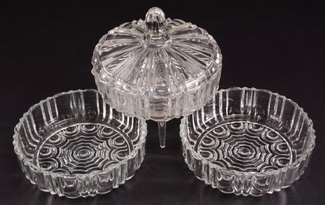 3 Pressed Glass Round Candy/Nut Dishes - 2