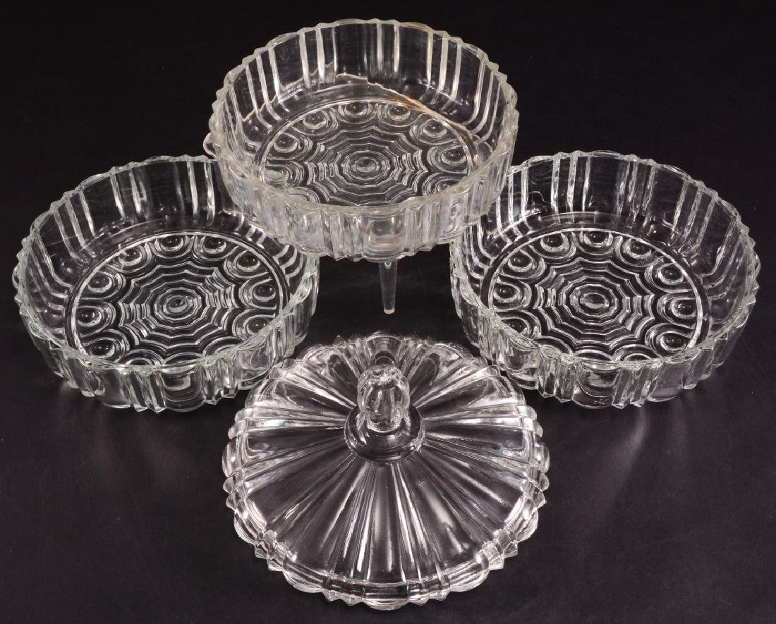 3 Pressed Glass Round Candy/Nut Dishes - 3