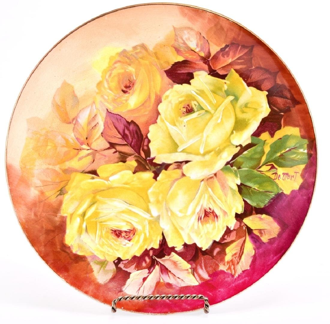 Hand Painted Yellow Roses Decorative Plate