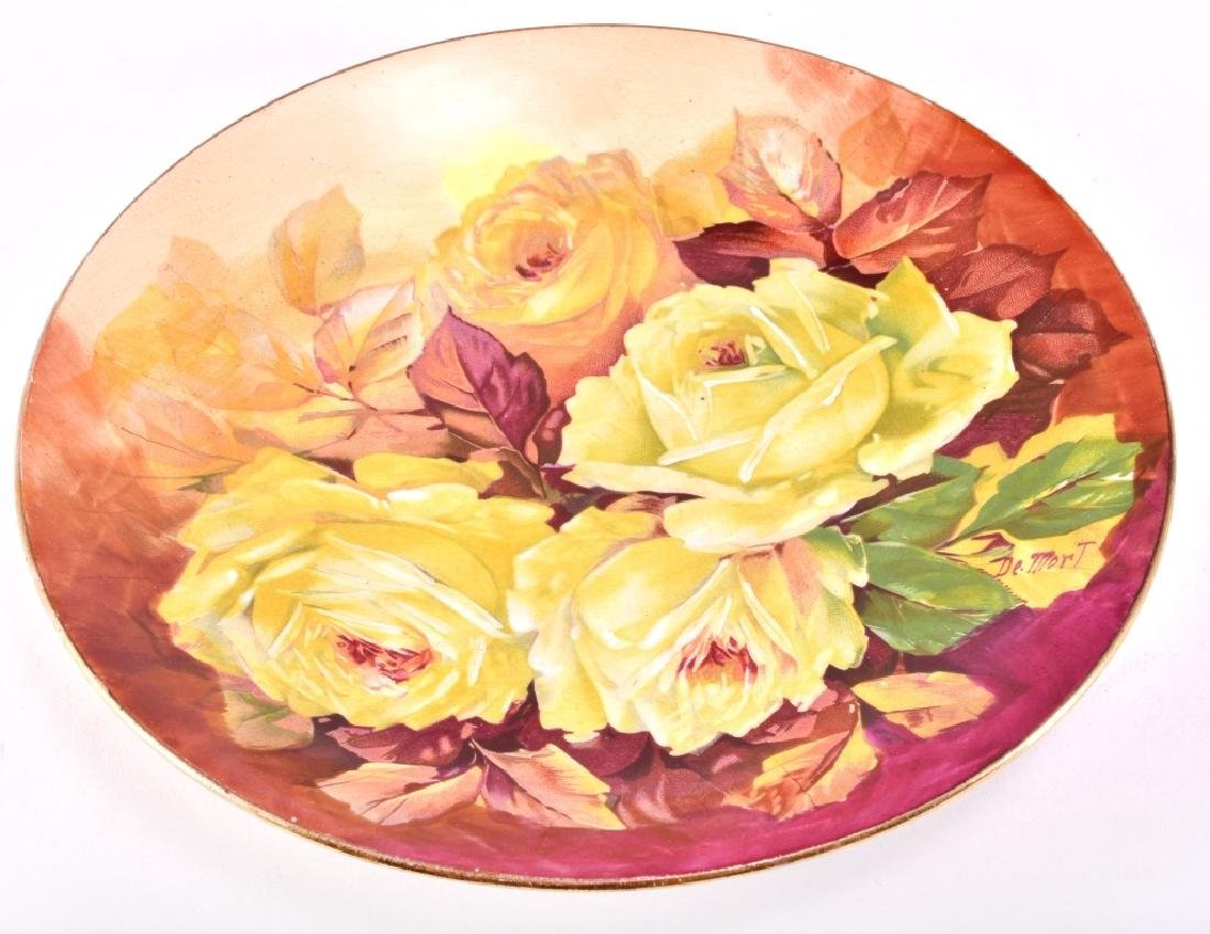 Hand Painted Yellow Roses Decorative Plate - 3