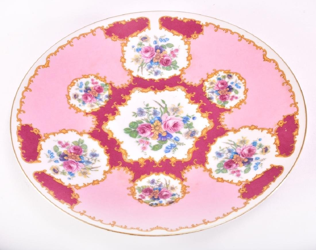 Pink, Burgundy & Yellow Floral Decorative Plate - 2