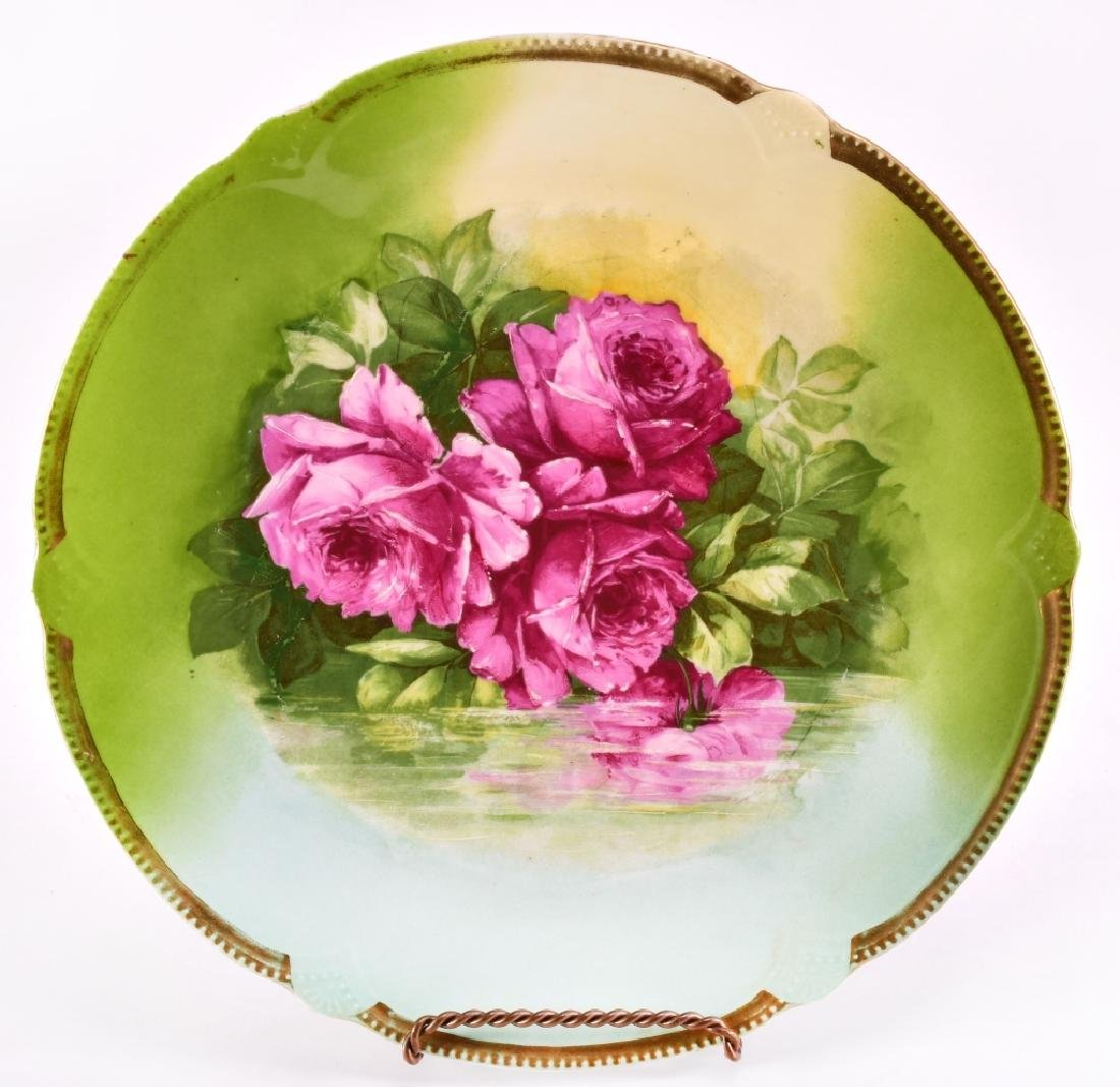 Hand Painted Green w/Pink Roses Decorative Plate